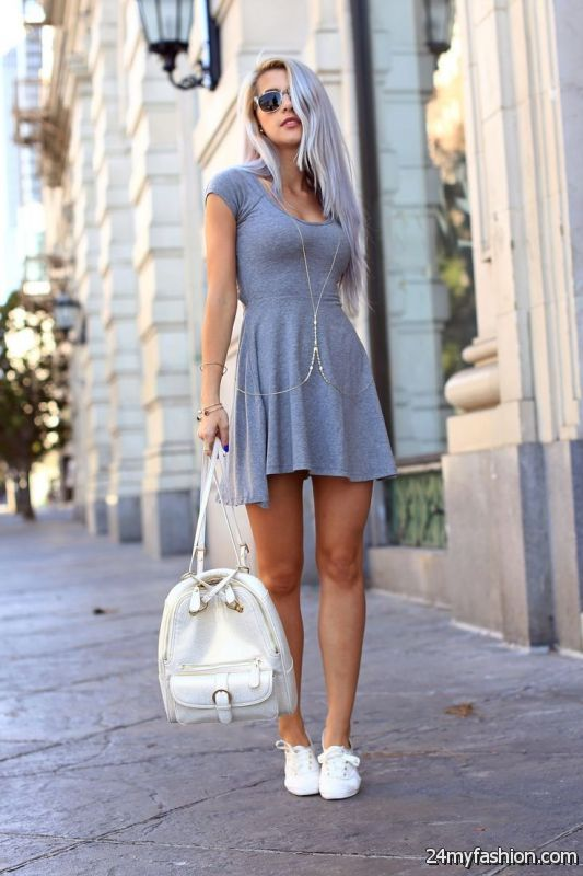 25 Ways To Wear Dresses With Sneakers 2019-2020