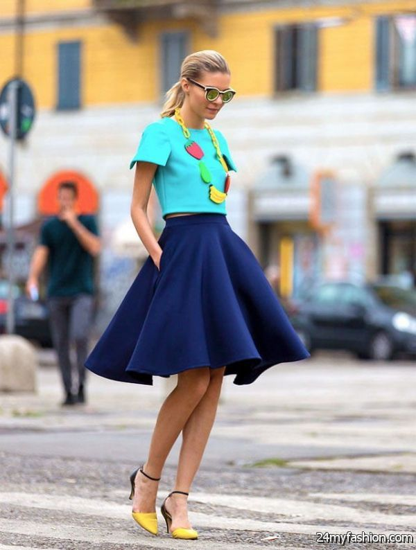 Blue Skirts Outfit Combinations 2019-2020