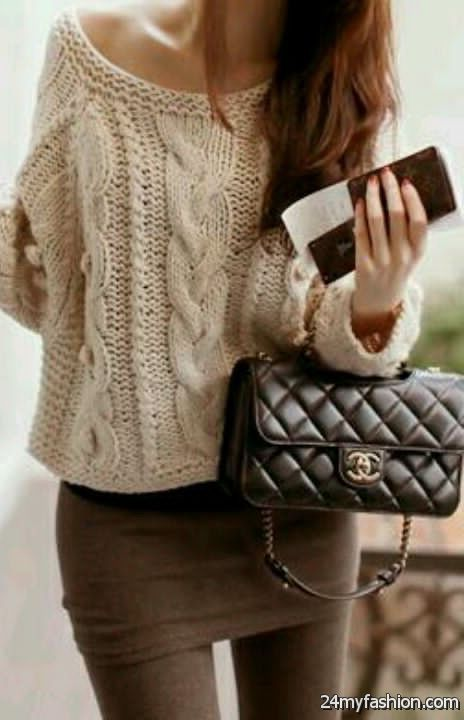 Cable Knit Sweaters Outfit Ideas 2019-2020