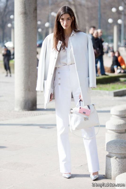 How To Style Pants In All White Outfits 2019-2020