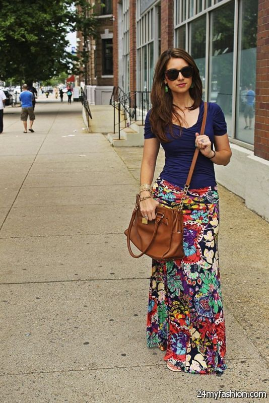 How To Wear Printed Maxi Skirts 2019-2020