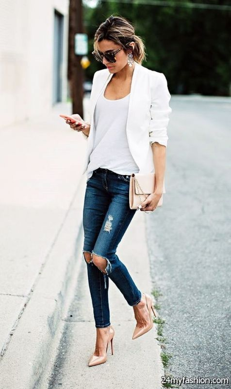 Ripped Jeans Outfit Ideas 2019-2020