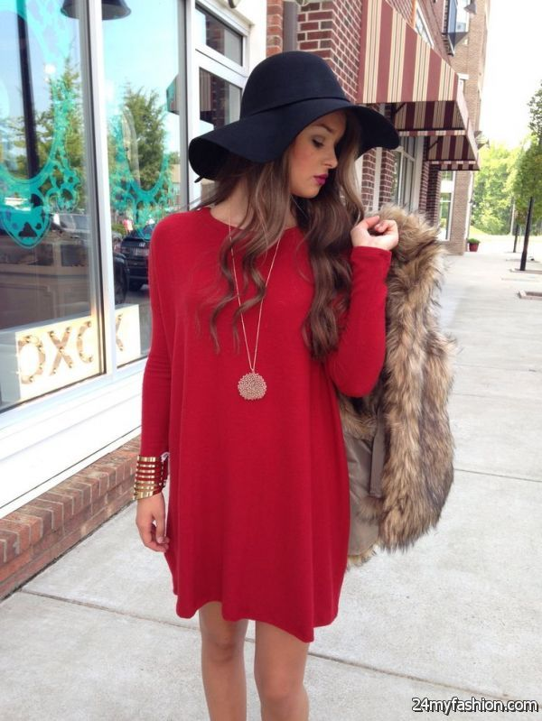 Maroon Sweater Dress Outfits