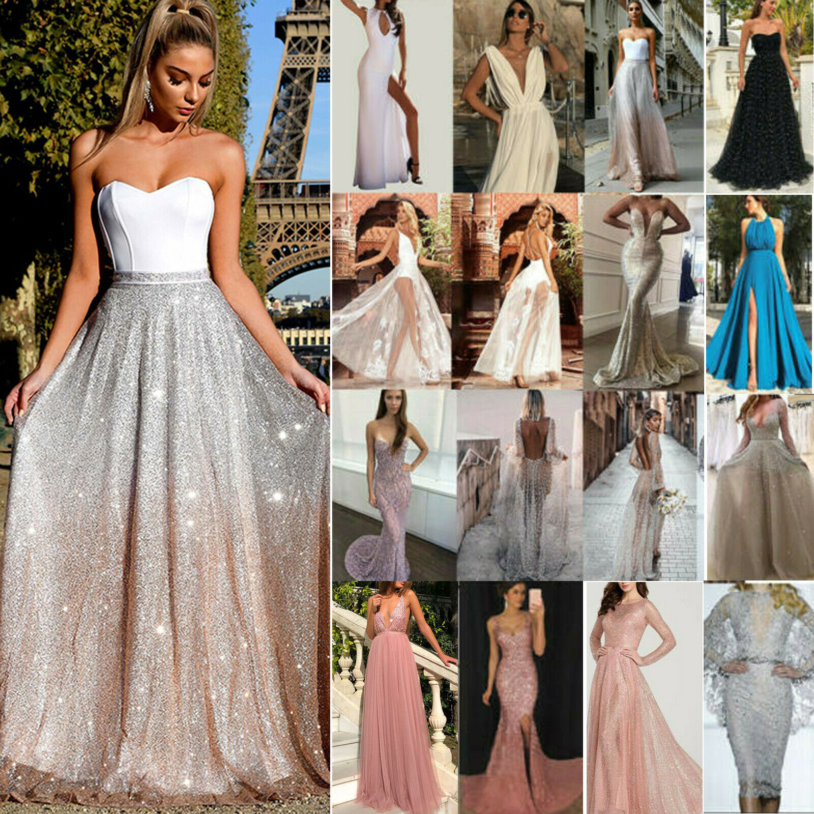 Fashion Lace Long Formal Wedding Evening Ball Gown Party Prom Bridesmaid Dress